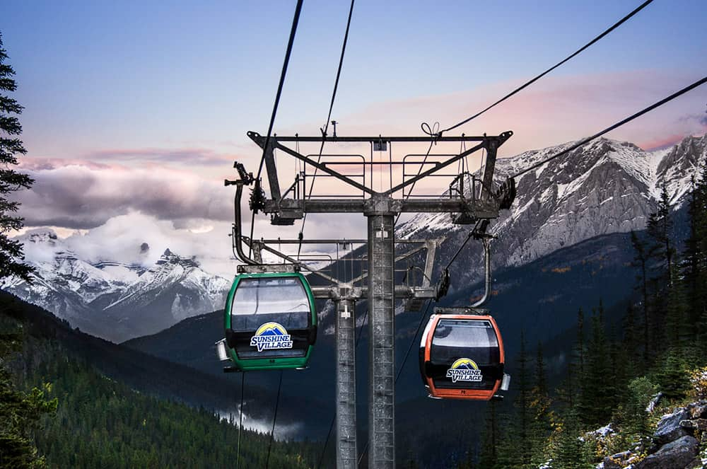Sunshine Village Gondola and the mountains of Banff National Park