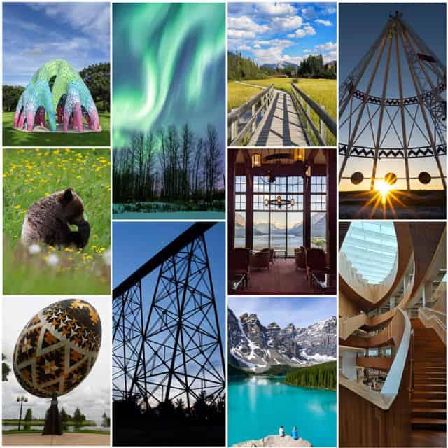 Alberta travel puzzles collage