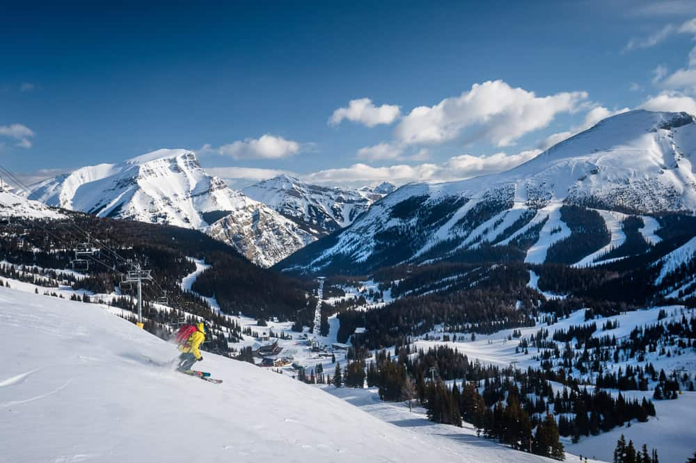 Views of the Rocky Mountains from Sunshine Village Ski Resort in Banff, Alberta