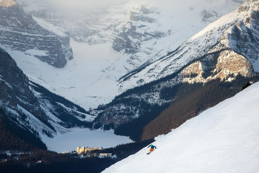 Views of Lake Louise from a skiers perspective.