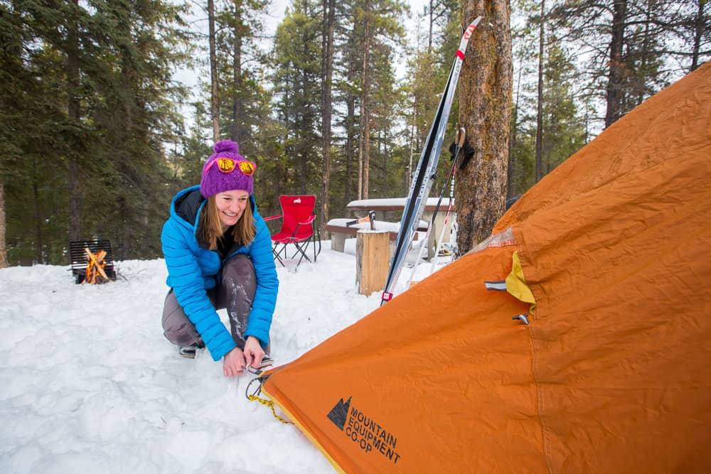 Winter camping setup