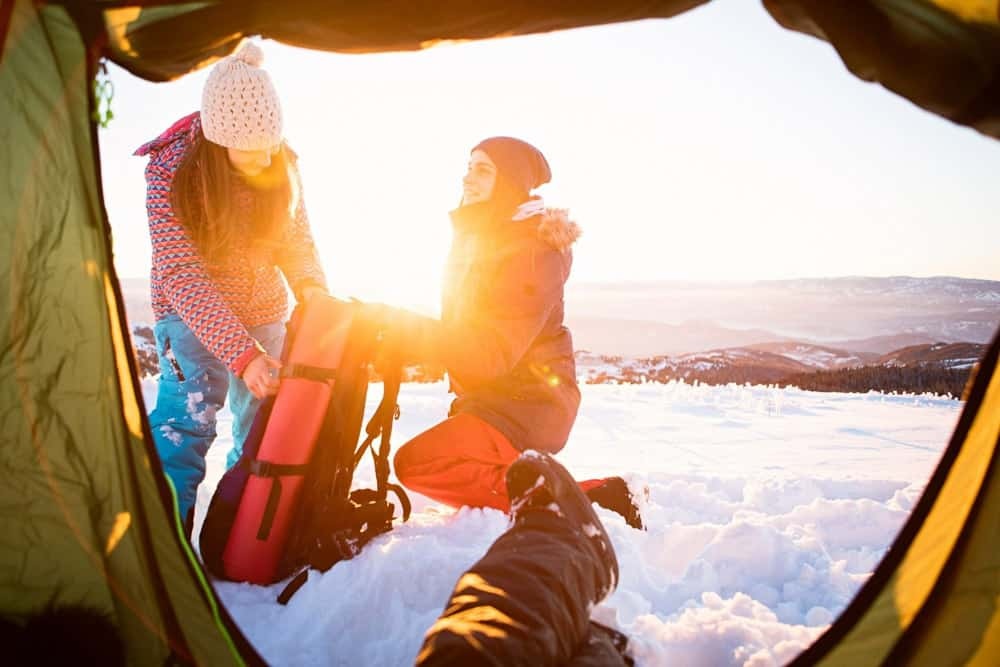 Winter camping and a photo from inside the tent