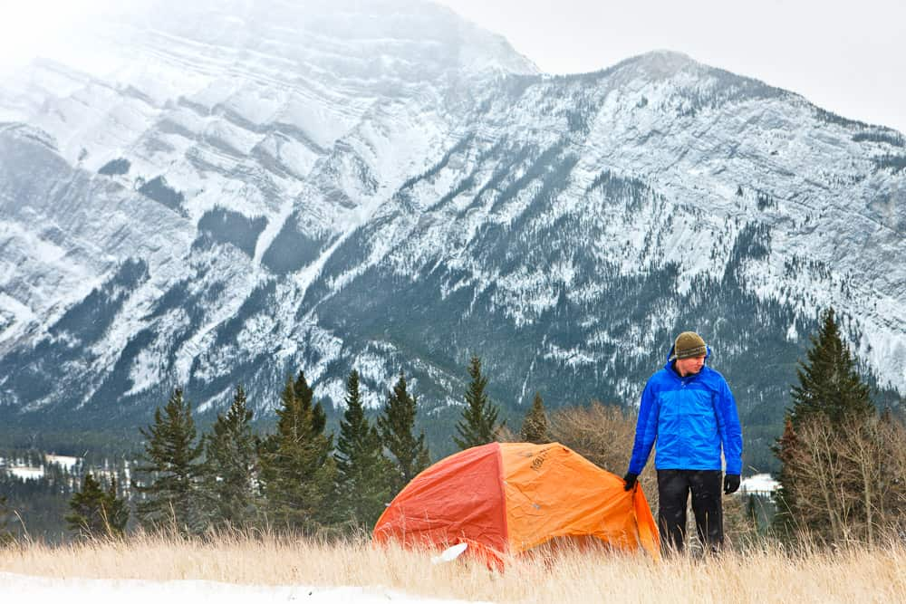 Finding a winter camping spot at Tunnel Mountain Village in Banff