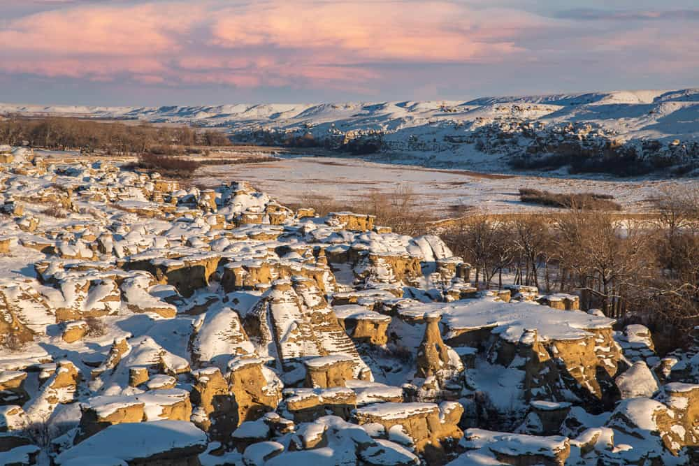 Writing-on-Stone Provincial Park in winter.
