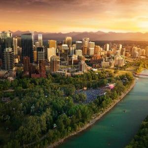 Aerial View Princes Island Park Calgary