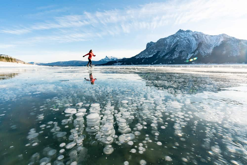Bubbles at Abraham Lake - an Alberta natural wonder