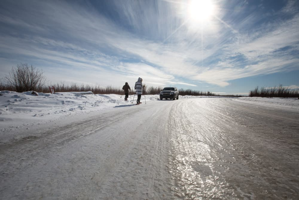 Icy road en route to Fort McMurray