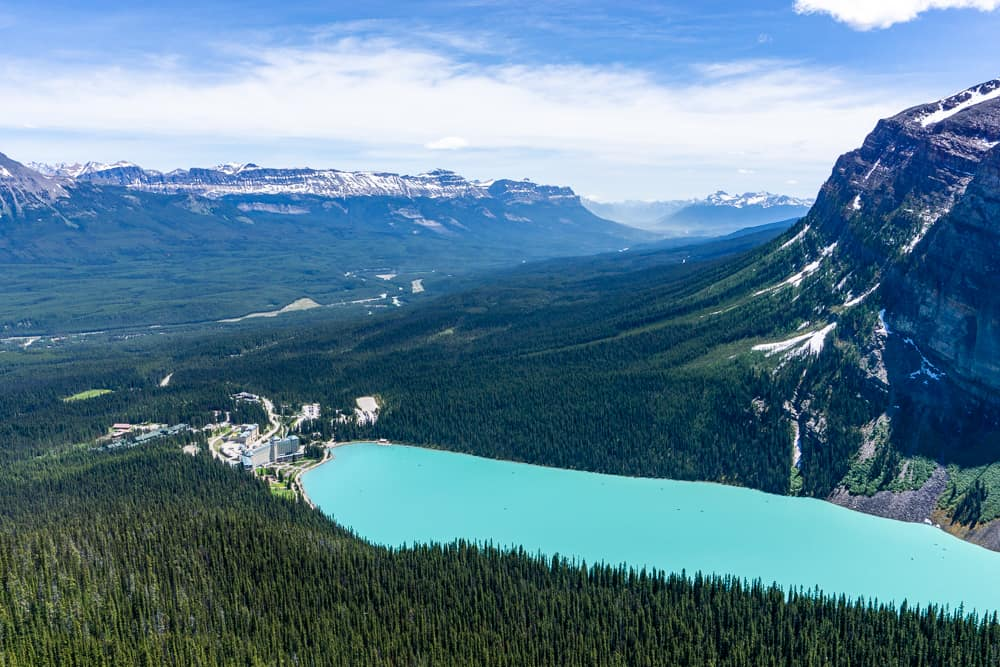 A view of Lake Louise from Above