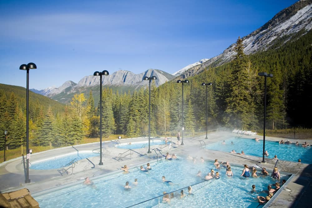 Miette Hot Springs on a bright blue day