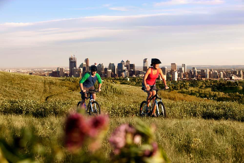 Mountain bikers in Nosehill Park in Calgary