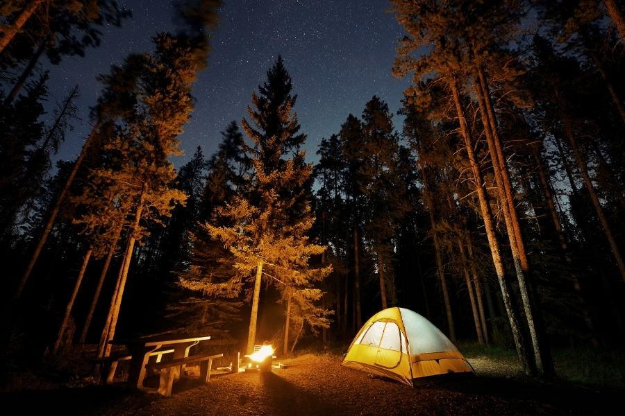 Camping under the stars in Banff National Park