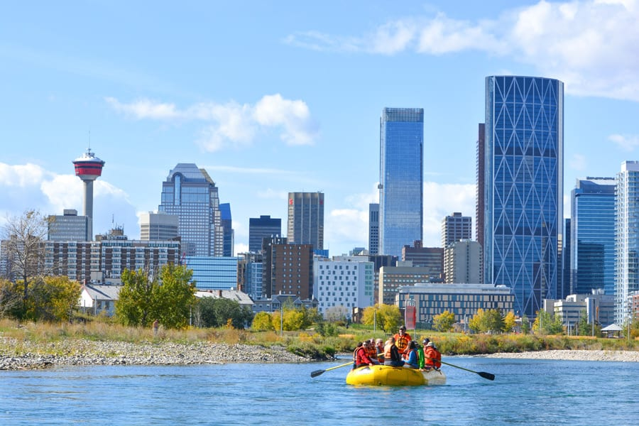Rafting on the Bow River in Calgary