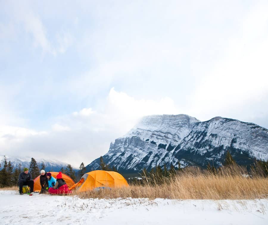 Winter camping in Banff National Park