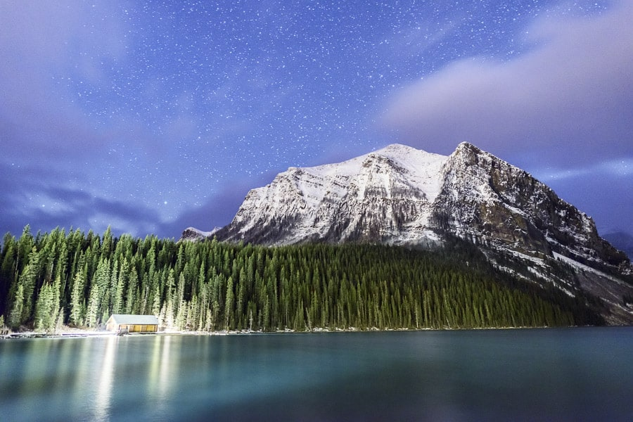 A photo of Lake Louise at Night in Banff National Park.