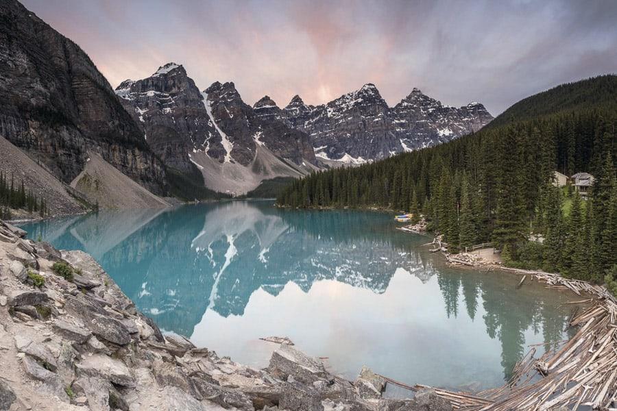 A photo of Maligne Lake at Sunrise in Banff National Park.