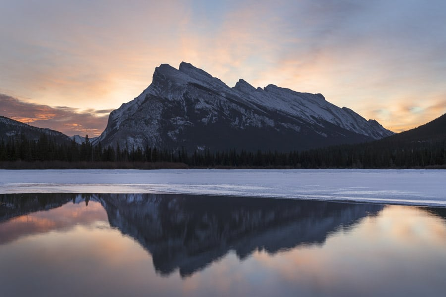 Mt Rundle from Vermillion Lakes in Banff National Park