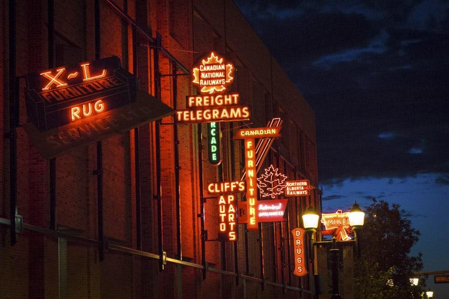 Neon Museum in Edmonton at night