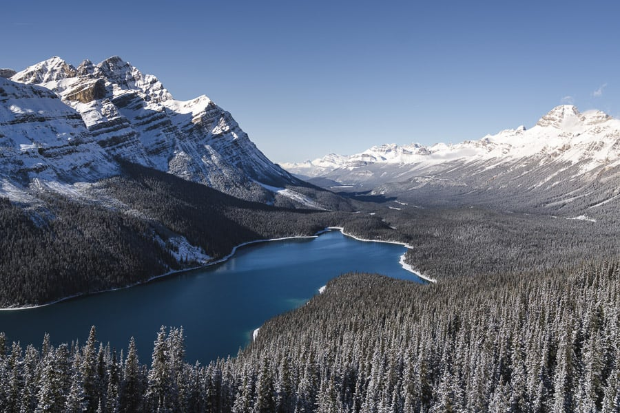 A photo of Peyto Lake in winter - Banff National Park