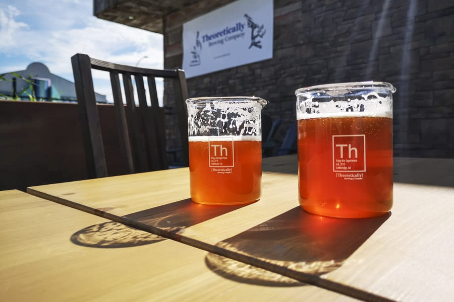 Beers on the patio at Theoretically Brewing Company Lethbridge