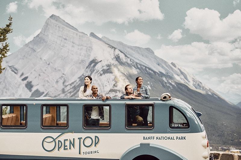 Open top touring bus in Banff Alberta