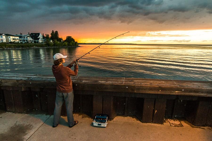 Fishing from Dock at Cold Lake