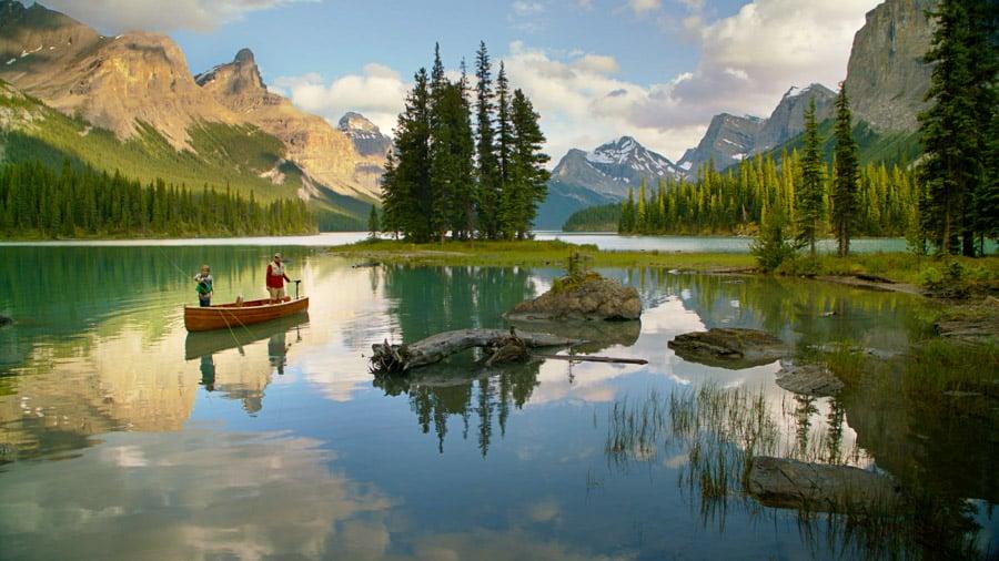Fishing on Maligne Lake