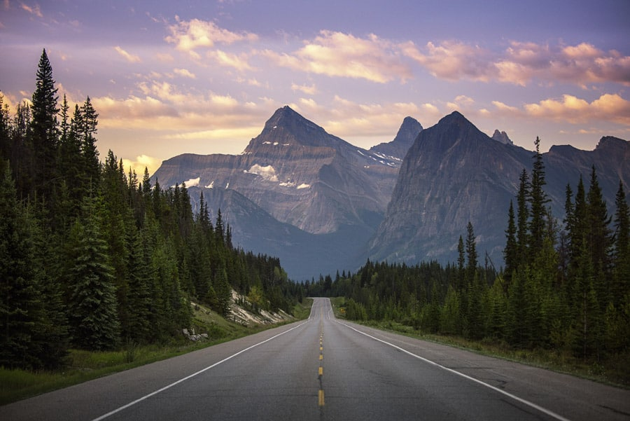Icefields Parkway at Sunrise