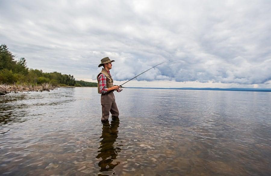Man fishing Lesser Slave Lake