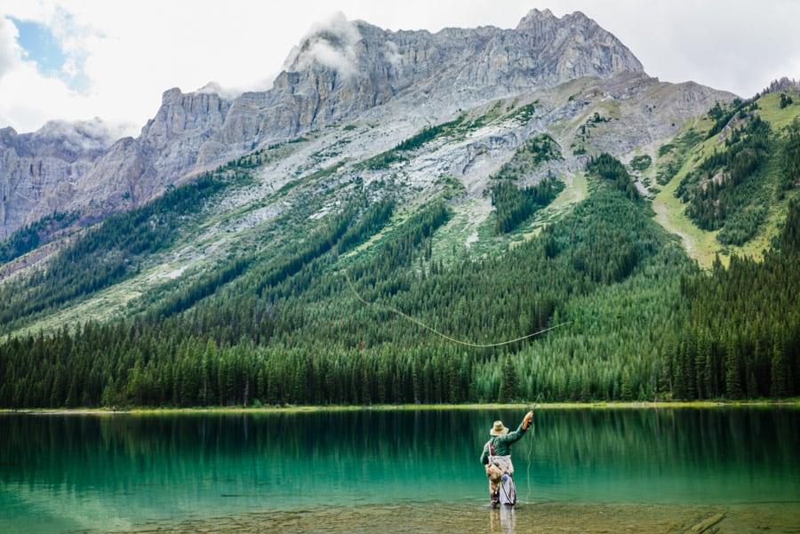 Man fly fishing at Marvel Lake