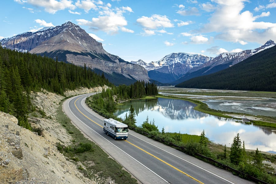 RV driving on Icefields Parkway