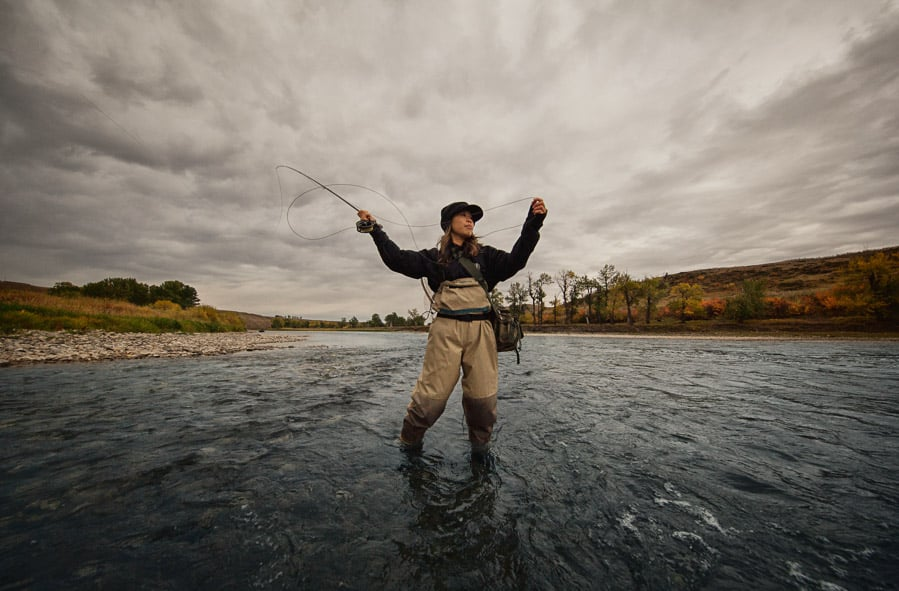 Woman Fly Fishing on Bow River