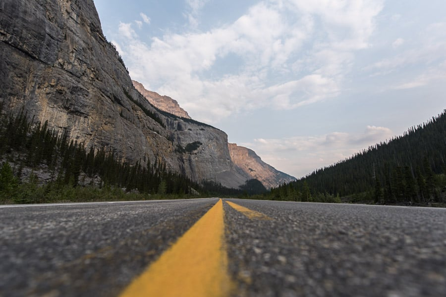Yellow Lines on Icefields Parkway