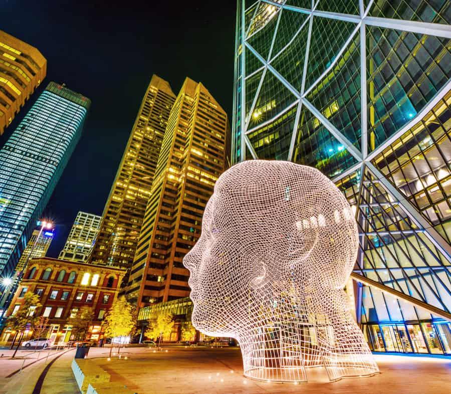 Calgary Wonderland Sculpture at night