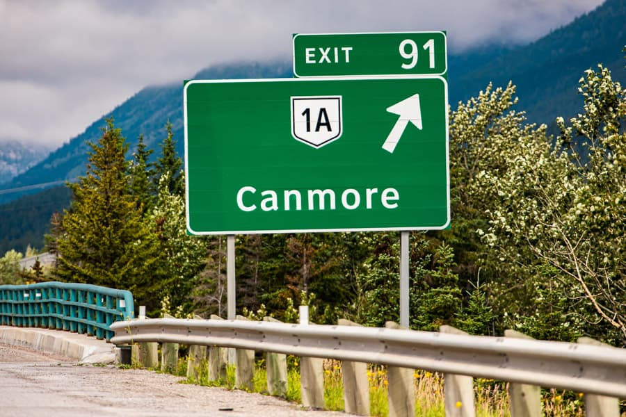 Canmore exit sign from Highway 1A