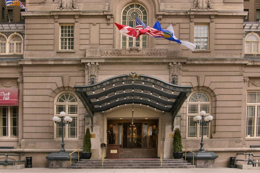 The front doors of the Fairmont Palliser Hotel Calgary