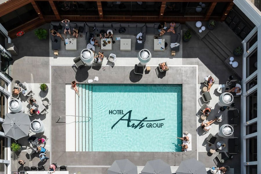 Aerial view of Hotel Arts swimming pool