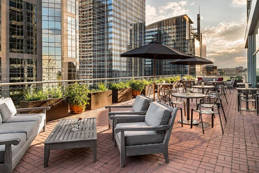 Rooftop patio at Sheraton Suite Eau Claire Calgary