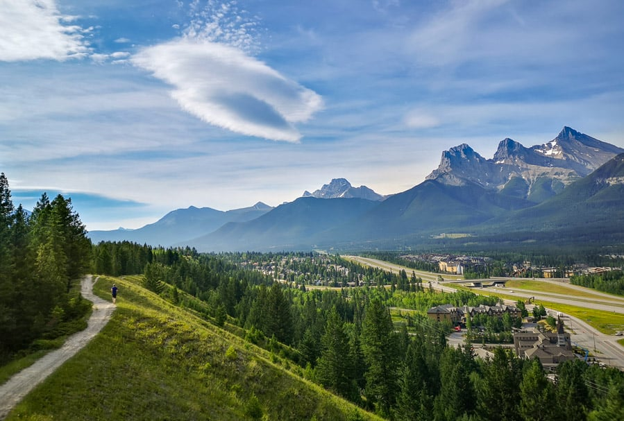 A view of Canmore from a hiking trail