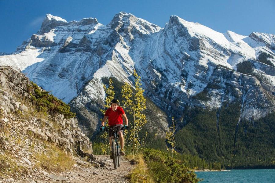 Mountain biker in Banff National Park