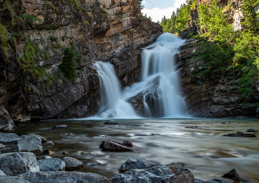 Cameron Falls in Waterton Lakes National Park is a very popular waterfall in Alberta