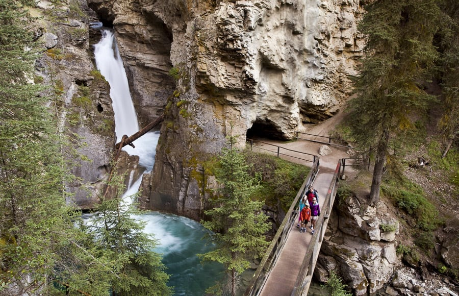 The rushing water of Johnston Canyon Falls in Banff National Park is a reason this is one of the most popular waterfalls in Alberta.