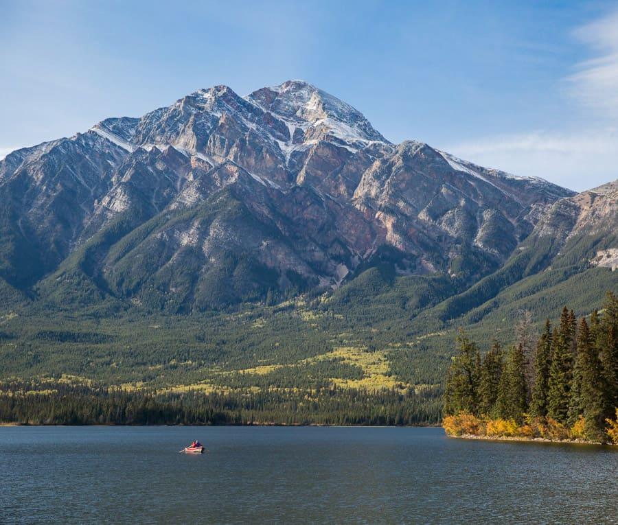 Canoe on Pyramid Lake in Jasper National Park