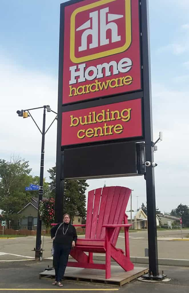 Home Hardware Sign and Big Chair