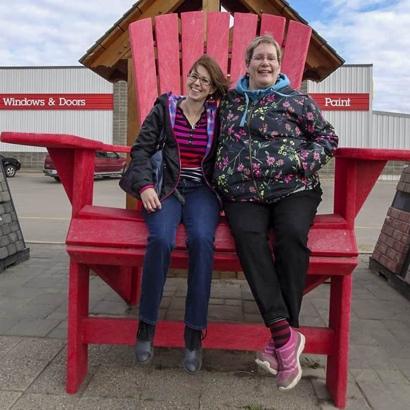 The big red chairs at Home Hardware Spruce Grove