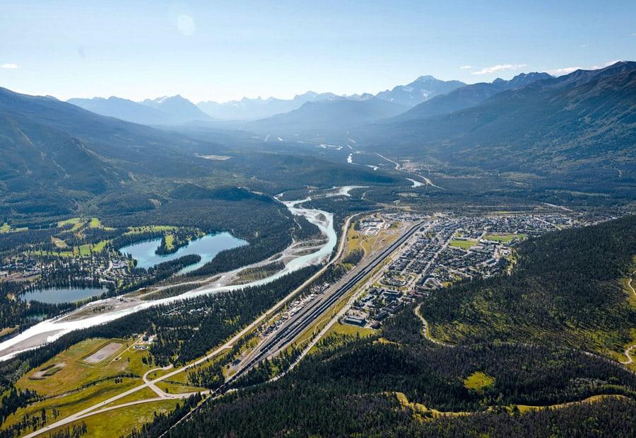 A bird's eye view of Jasper townsite