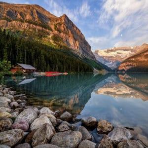 A still reflection on Lake Louise, Alberta