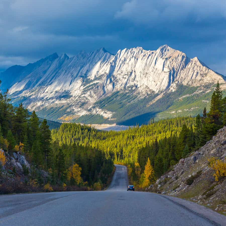 The Road that leads to Jasper with the Rocky Mountains in the distance.