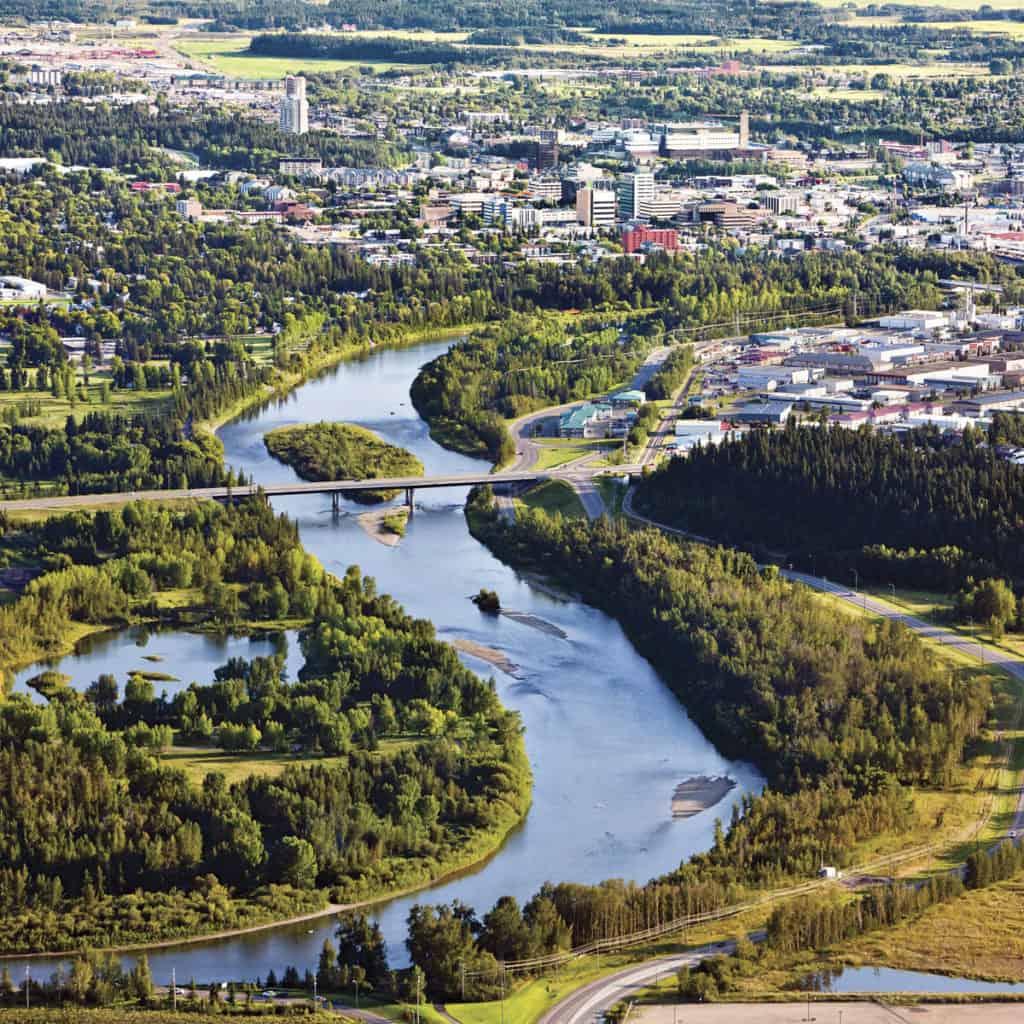 Aerial view of Red Deer