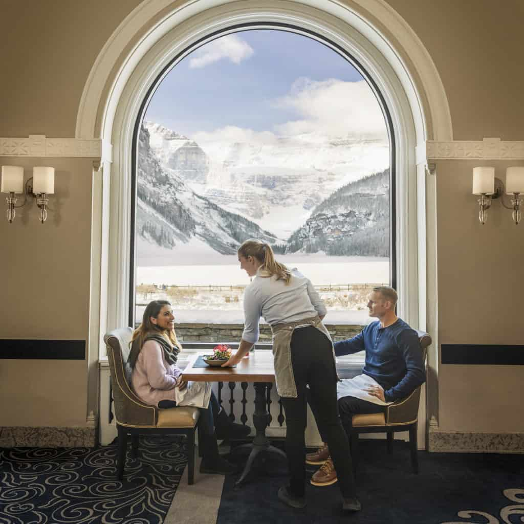 Dining with views at the Fairmont Chateau Lake Louise
