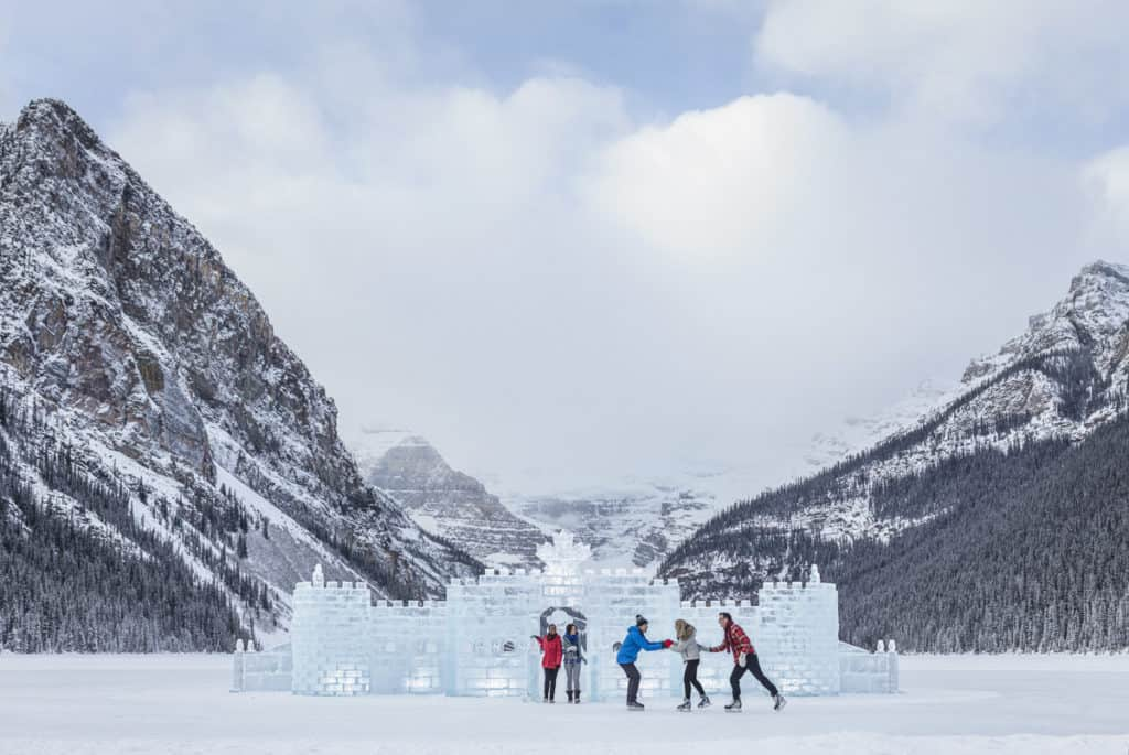 Ice Skating at Lake Louise in front of the Ice Castle.